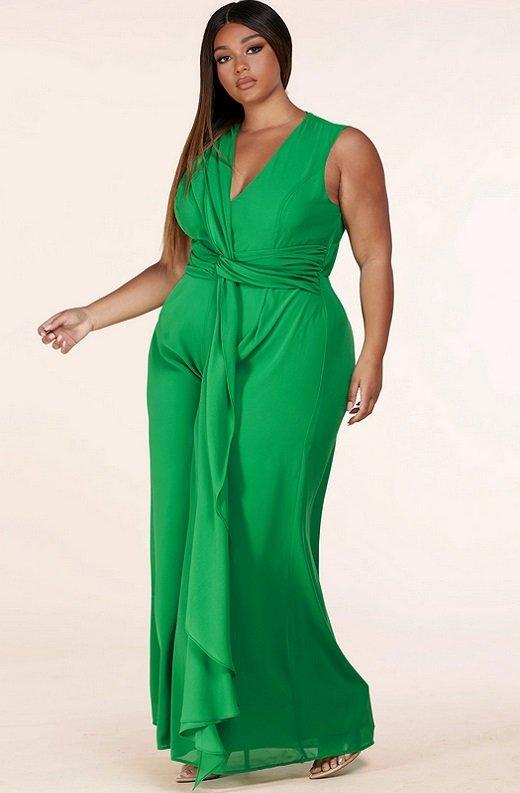 Neon Green Body Tank Straps Wide Leg Jumpsuit Plus Size 2