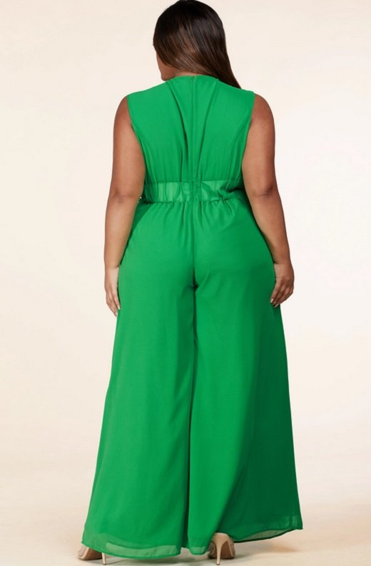 Neon Green Body Tank Straps Wide Leg Jumpsuit Plus Size 3
