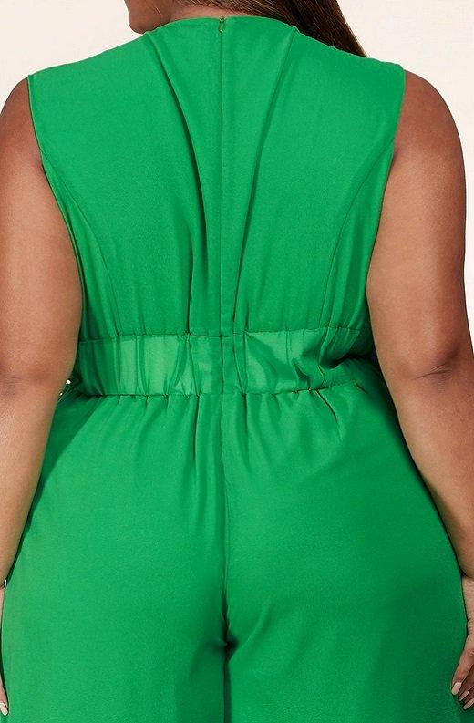 Neon Green Body Tank Straps Wide Leg Jumpsuit Plus Size 5