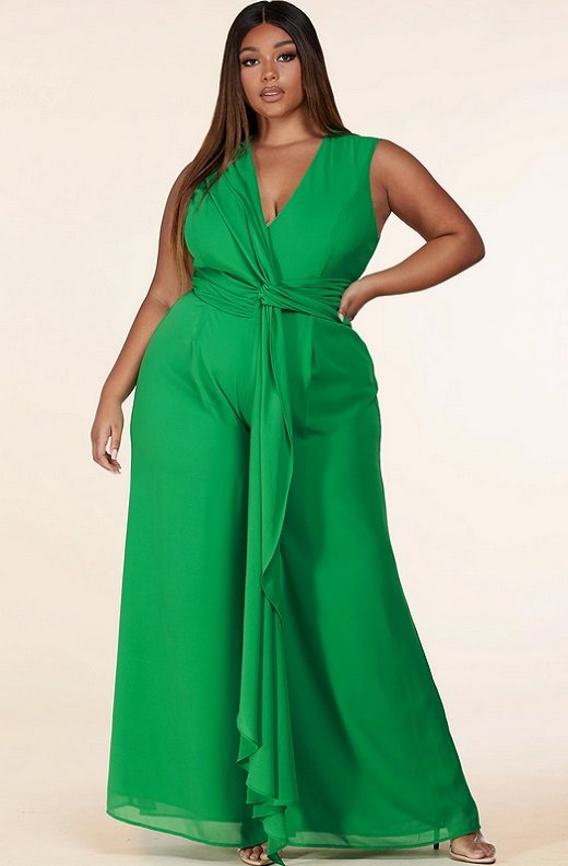 Neon Green Body Tank Straps Wide Leg Jumpsuit Plus Size 6