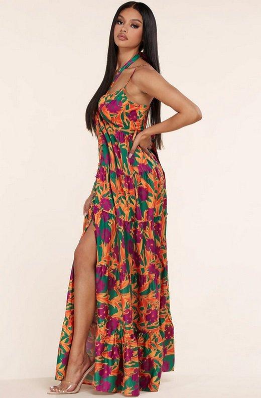 Orange Floral Print Halter Tie Maxi Dress 2