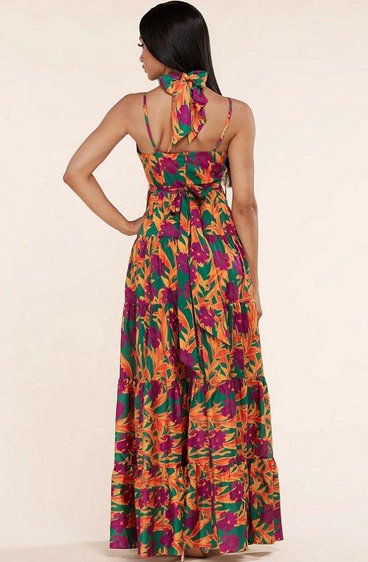 Orange Floral Print Halter Tie Maxi Dress 3