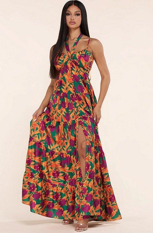 Orange Floral Print Halter Tie Maxi Dress 6