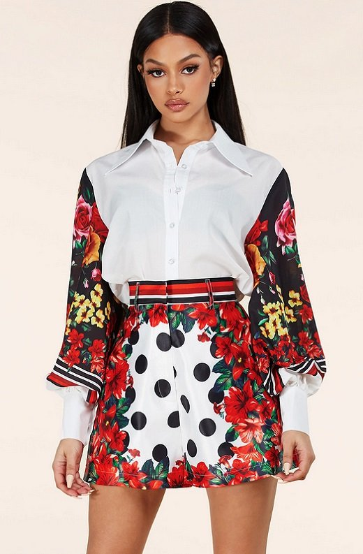 Red Floral Long Sleeve Button Up Two Piece Set 1