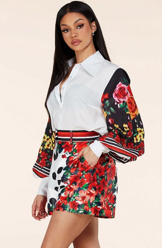 Red Floral Long Sleeve Button Up Two Piece Set 2