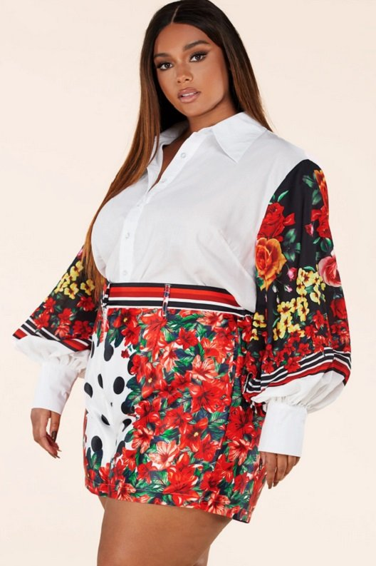 Red Floral Long Sleeve Button Up Two Piece Set 3