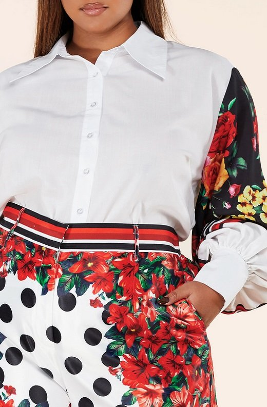 Red Floral Long Sleeve Button Up Two Piece Set 5