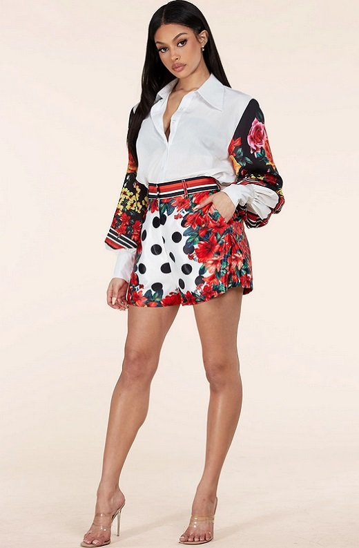 Red Floral Long Sleeve Button Up Two Piece Set 6