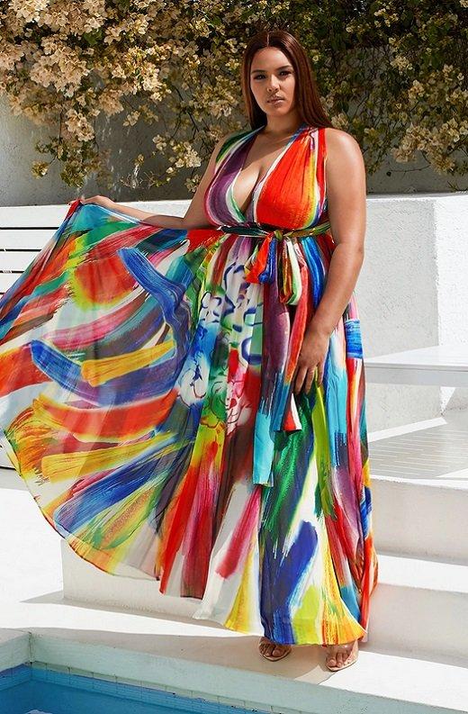 Tangerine Graffiti Art Halter Neckline Waist Tie Maxi Dress Plus Size 1