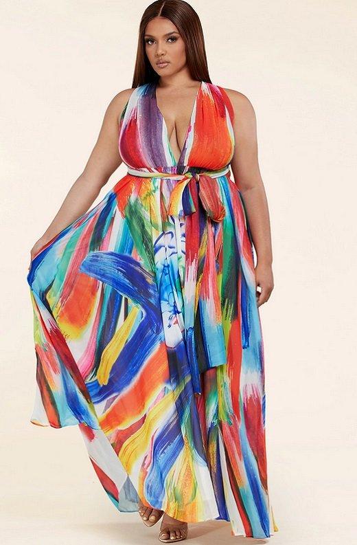 Tangerine Graffiti Art Halter Neckline Waist Tie Maxi Dress Plus Size 2