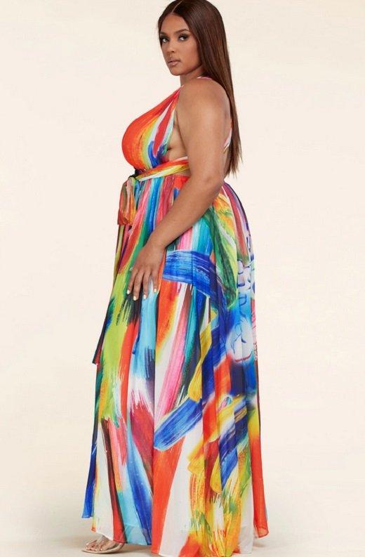 Tangerine Graffiti Art Halter Neckline Waist Tie Maxi Dress Plus Size 3