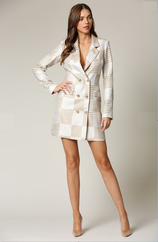 Taupe Houndstooth Long Sleeves Blazer Dress 1