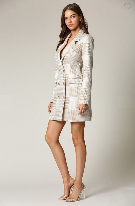 Taupe Houndstooth Long Sleeves Blazer Dress 2