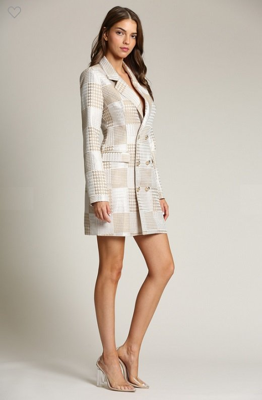 Taupe Houndstooth Long Sleeves Blazer Dress 3