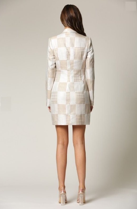 Taupe Houndstooth Long Sleeves Blazer Dress 4