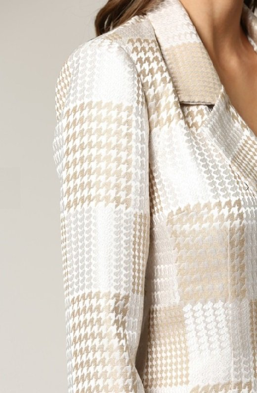 Taupe Houndstooth Long Sleeves Blazer Dress 5