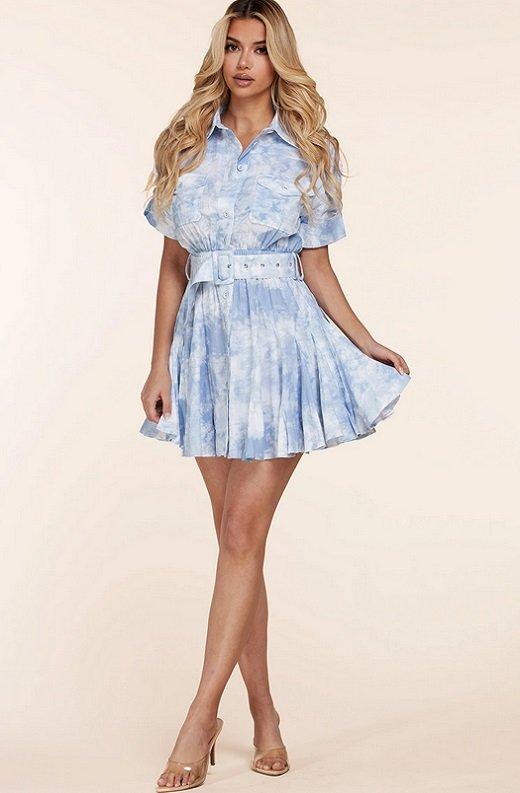 Light Blue Short Sleeve Button-Up Baby doll Dress 1