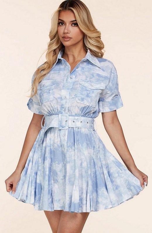 Light Blue Short Sleeve Button-Up Baby doll Dress 2