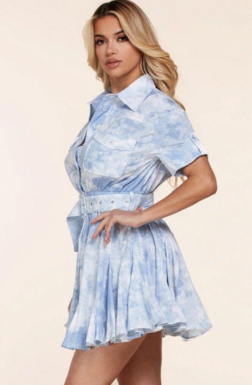 Light Blue Short Sleeve Button-Up Baby doll Dress 3