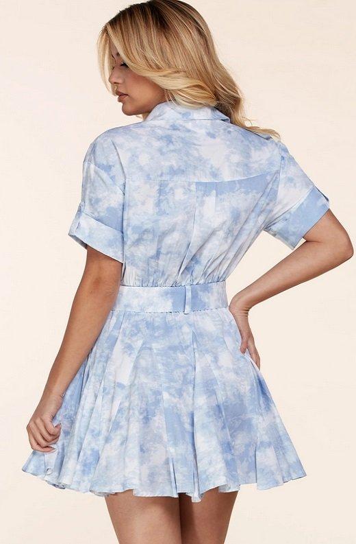 Light Blue Short Sleeve Button-Up Baby doll Dress 4