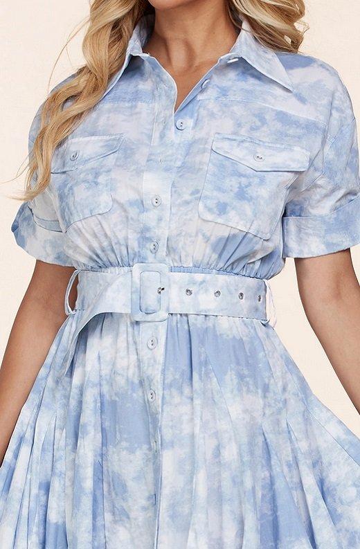 Light Blue Short Sleeve Button-Up Baby doll Dress 5