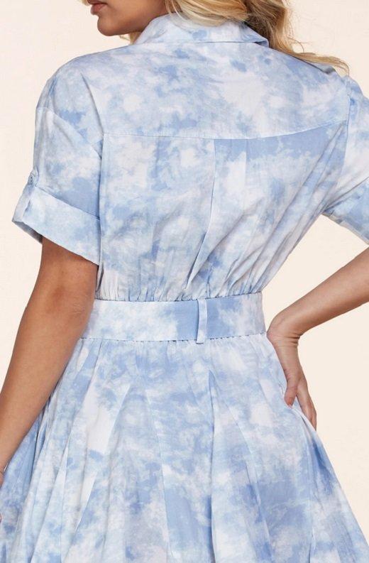 Light Blue Short Sleeve Button-Up Baby doll Dress 6