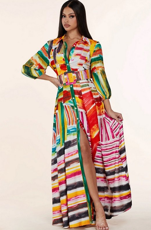 Multi Color Abstract Stripe Print Belted Maxi Dress 1