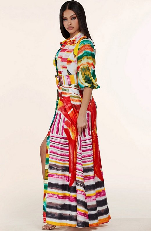 Multi Color Abstract Stripe Print Belted Maxi Dress 2
