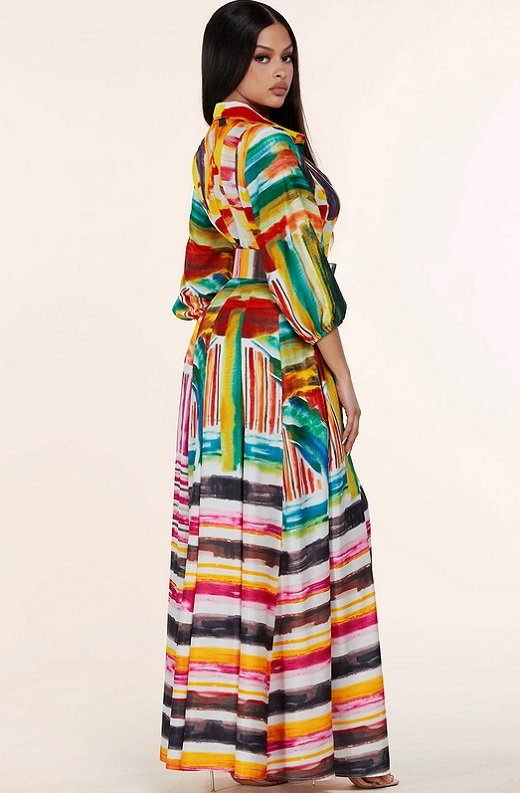 Multi Color Abstract Stripe Print Belted Maxi Dress 3