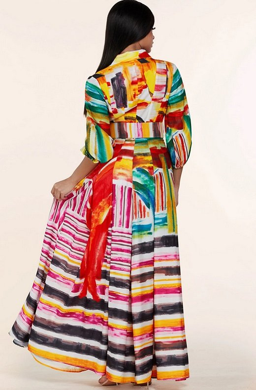 Multi Color Abstract Stripe Print Belted Maxi Dress 4