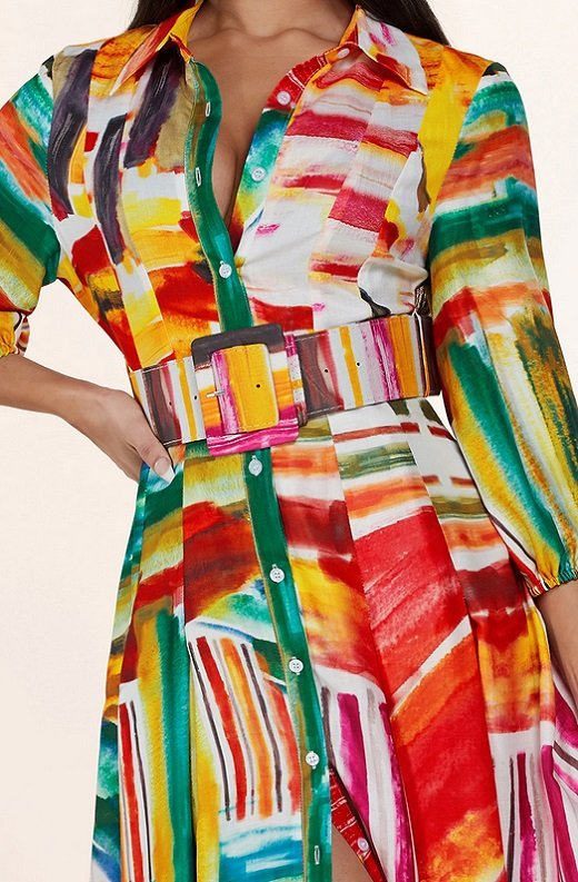 Multi Color Abstract Stripe Print Belted Maxi Dress 5