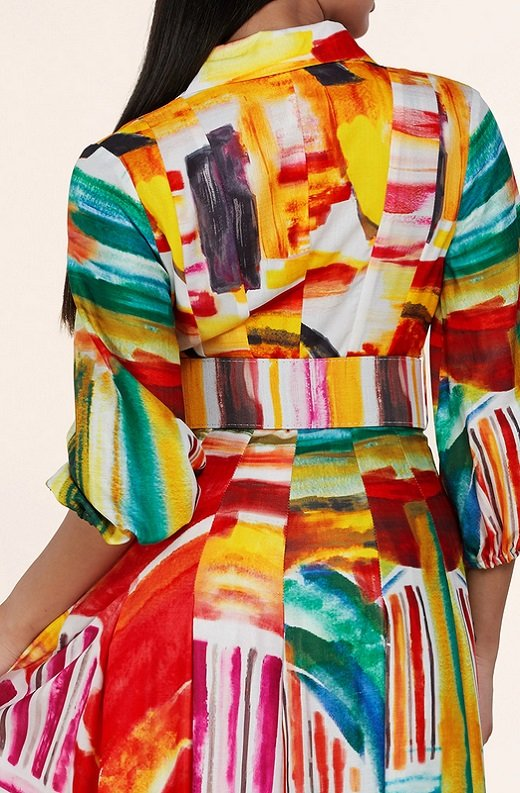 Multi Color Abstract Stripe Print Belted Maxi Dress 6
