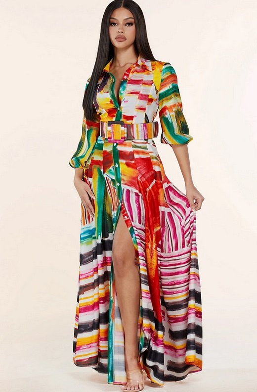 Multi Color Abstract Stripe Print Belted Maxi Dress 7