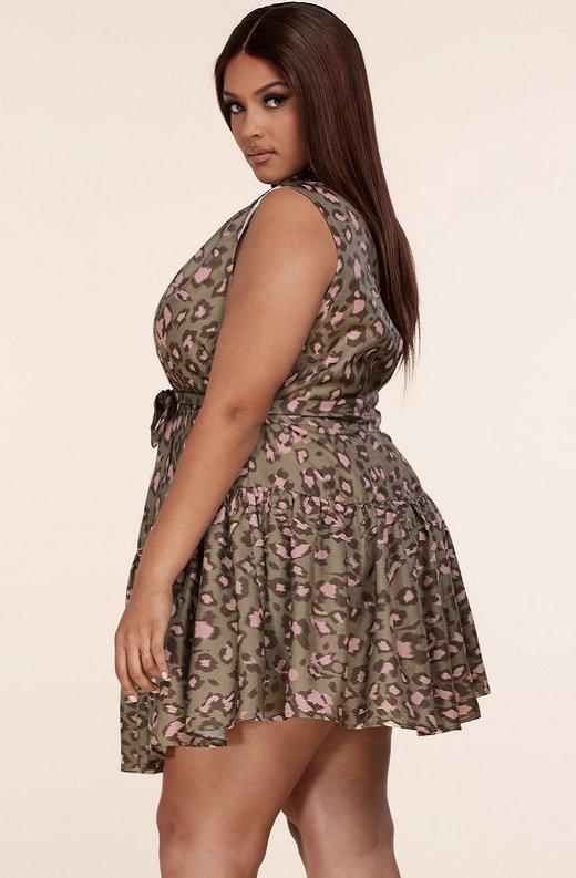 Olive Leopard Print Mock Neck Belted Waist Dress Plus Size 2