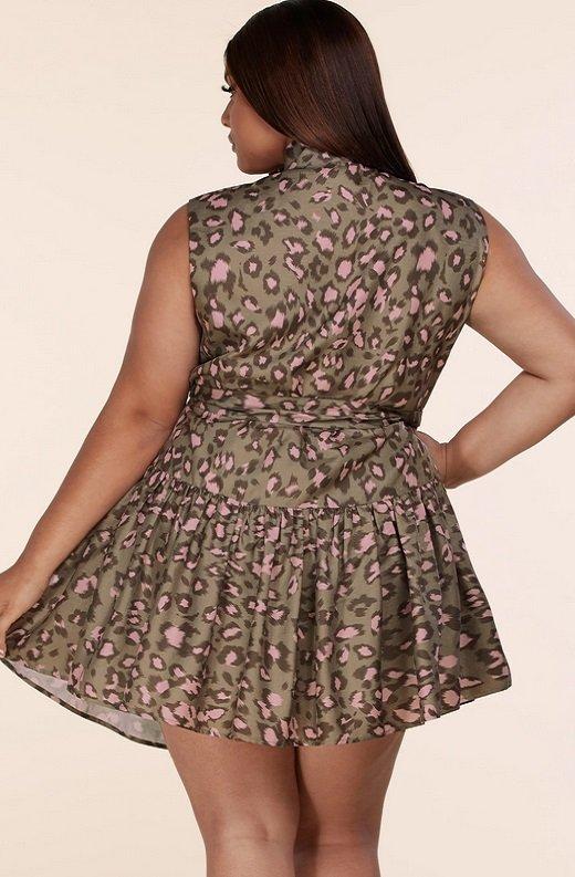 Olive Leopard Print Mock Neck Belted Waist Dress Plus Size 3