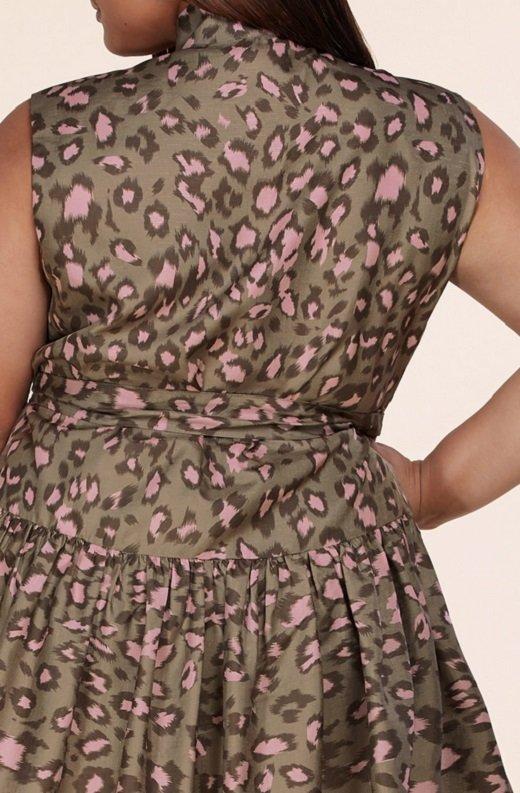 Olive Leopard Print Mock Neck Belted Waist Dress Plus Size 5