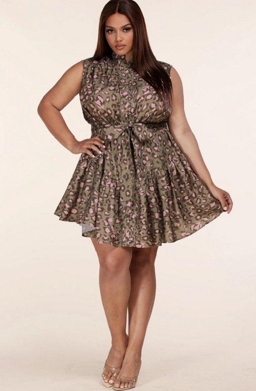 Olive Leopard Print Mock Neck Belted Waist Dress Plus Size 6