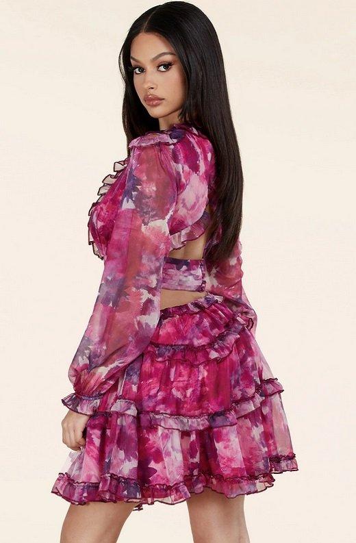 Purple Floral Print Ruffle Cut Out Tie Up Back Mini Dress 2