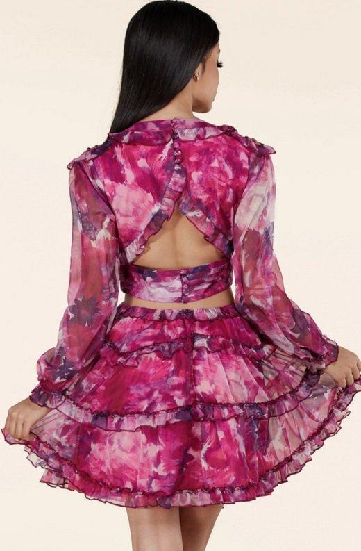Purple Floral Print Ruffle Cut Out Tie Up Back Mini Dress 3