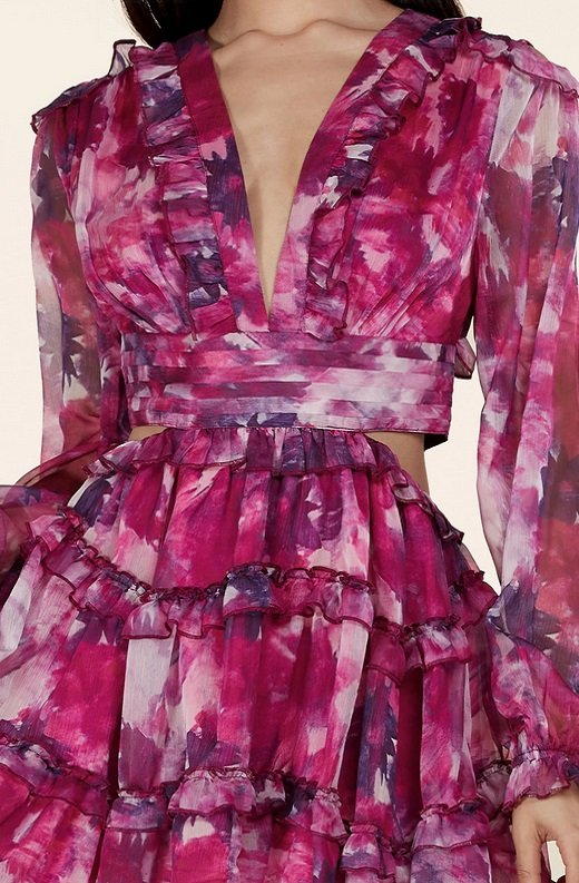 Purple Floral Print Ruffle Cut Out Tie Up Back Mini Dress 4