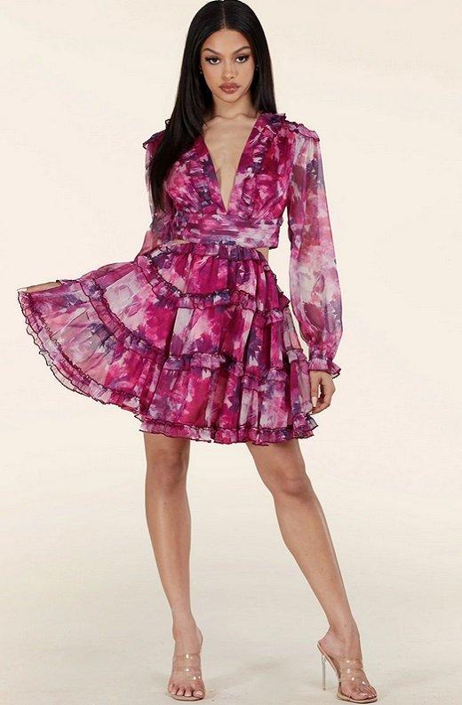 Purple Floral Print Ruffle Cut Out Tie Up Back Mini Dress 6