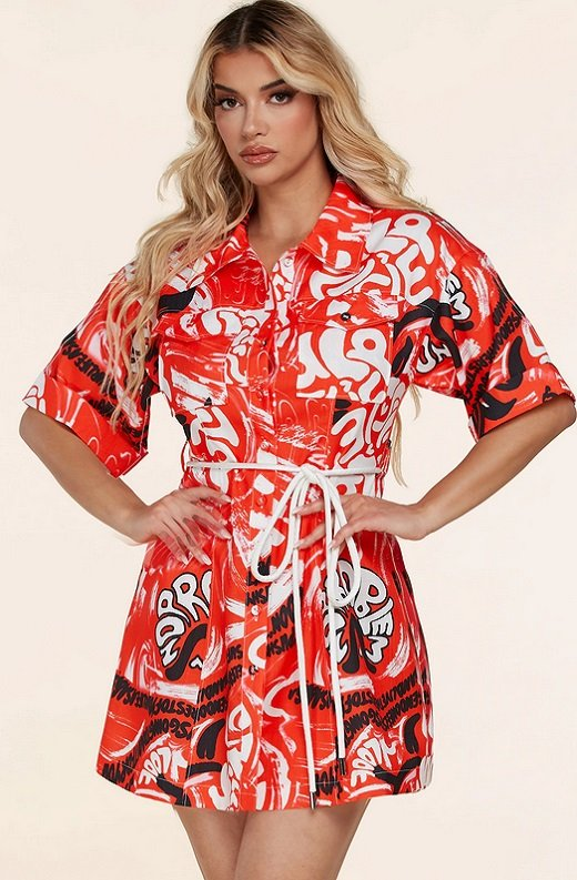Red Graffiti Print Button Up Belted Shirt Dress 1