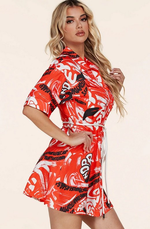 Red Graffiti Print Button Up Belted Shirt Dress 2