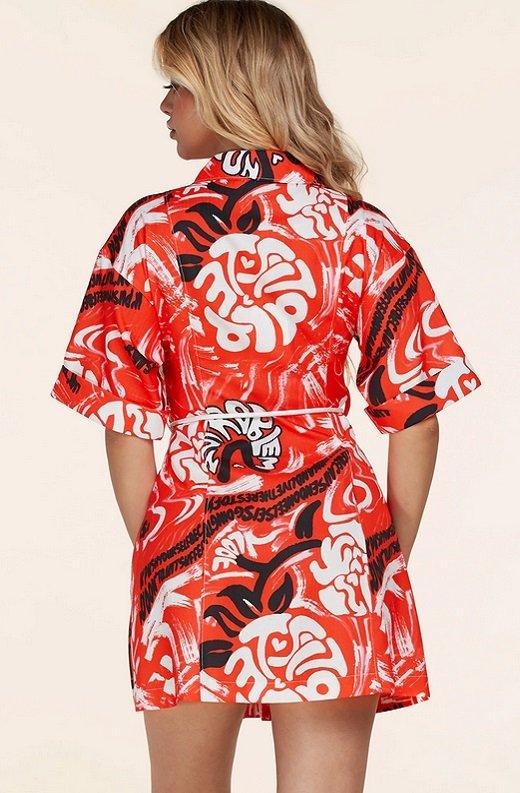 Red Graffiti Print Button Up Belted Shirt Dress 4