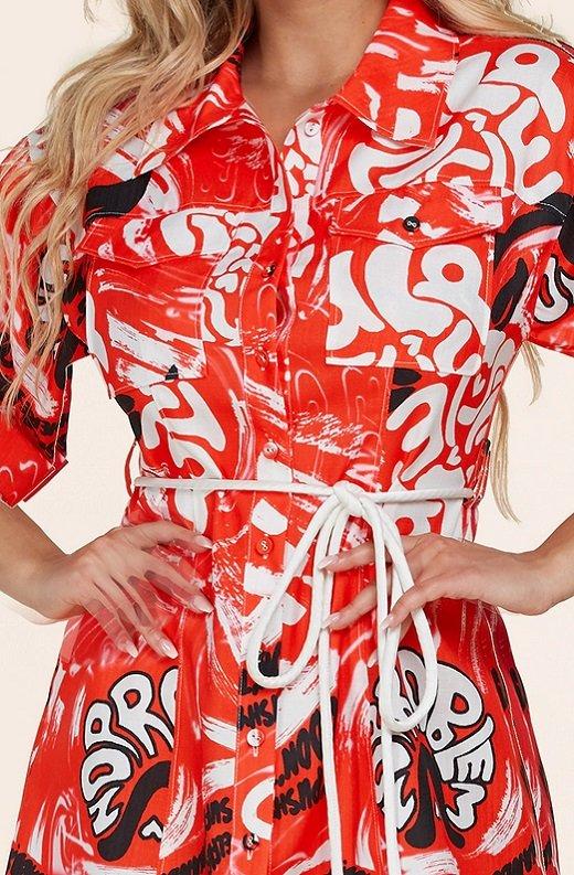 Red Graffiti Print Button Up Belted Shirt Dress 5