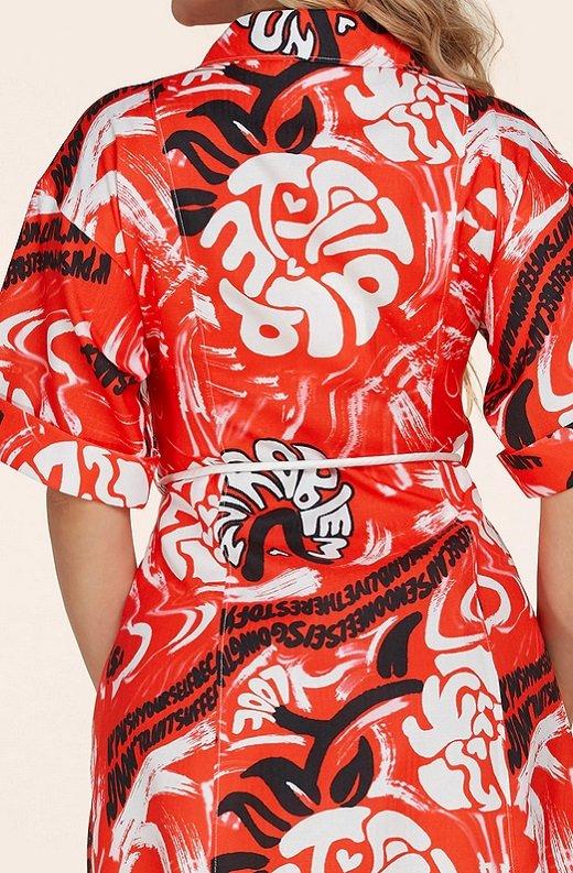Red Graffiti Print Button Up Belted Shirt Dress 6
