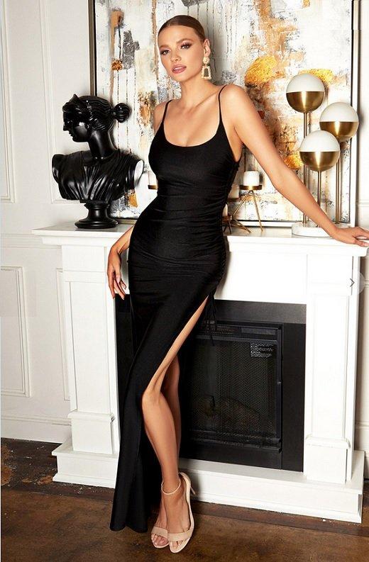 Black Silky Spaghetti Straps Ruched Slit Midi Dress 1