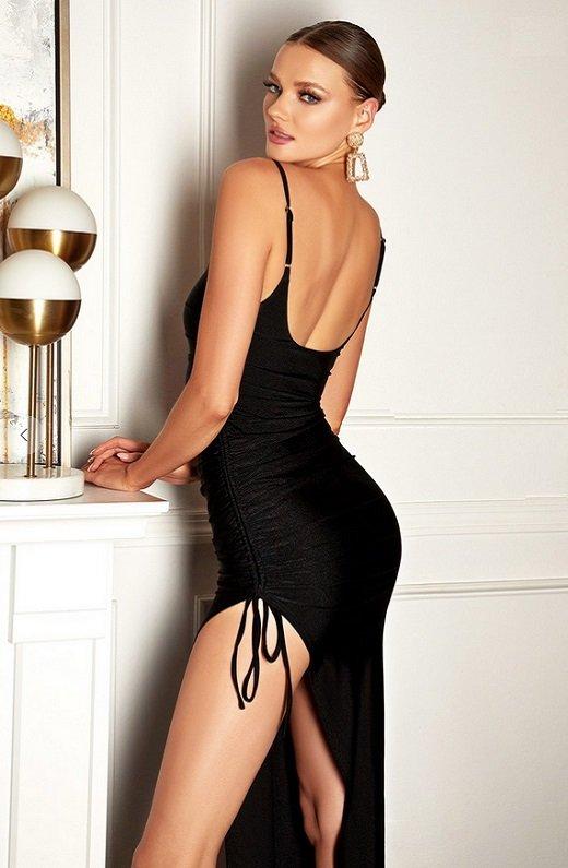 Black Silky Spaghetti Straps Ruched Slit Midi Dress 2