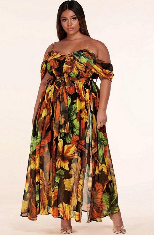 Black Yellow Floral Waist Tie Open Shoulders Maxi Dress Plus Size 1