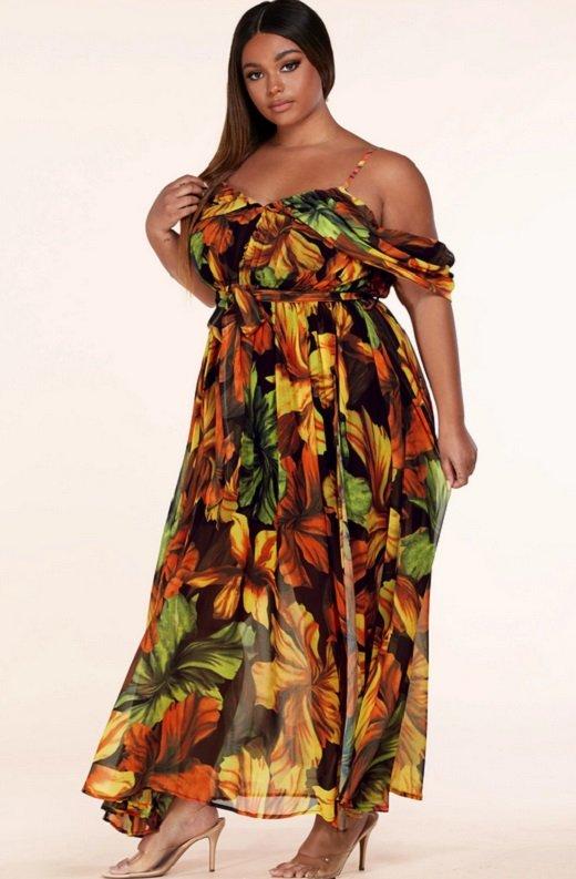 Black Yellow Floral Waist Tie Open Shoulders Maxi Dress Plus Size 2
